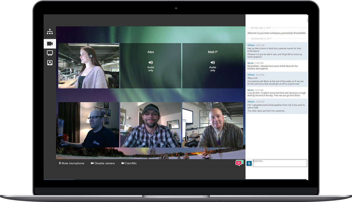 Video Conferencing and File Sharing with Team workspaces